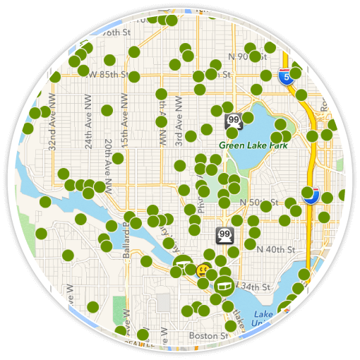 The map view that premium members see includes all geocaches hidden in the area.