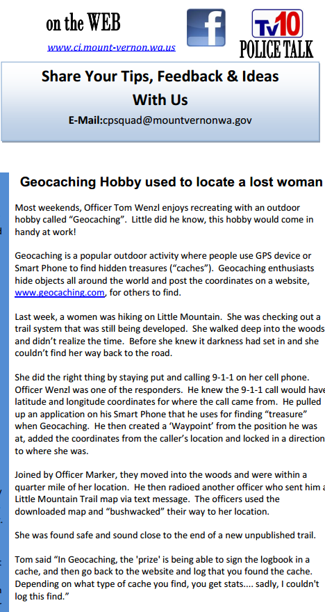 Police Officer uses Geocaching to Save a Lost Hiker