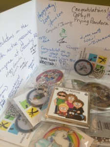 Part of the Geocaching congratulations package sent to rAMPant_1 from Geocaching HQ.