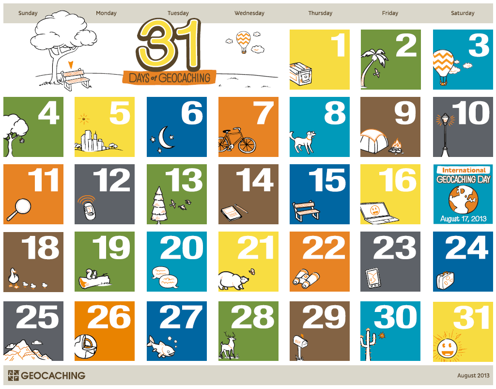 image about Printable Geocache Log named 31 Times of Geocaching Printable Calendar Formal Blog site