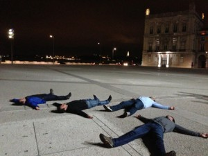 """""""Bruning"""" in Lisbon. It's kind of like planking, but on your back."""