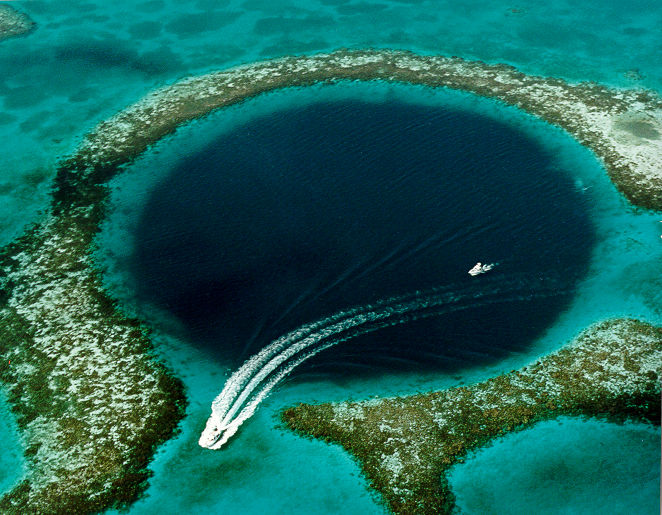A bird's eye view of the Great Blue Hole.