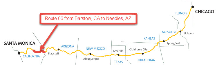 150 miles stretch of Route 66 from Barstow, CA to Needles, AZ