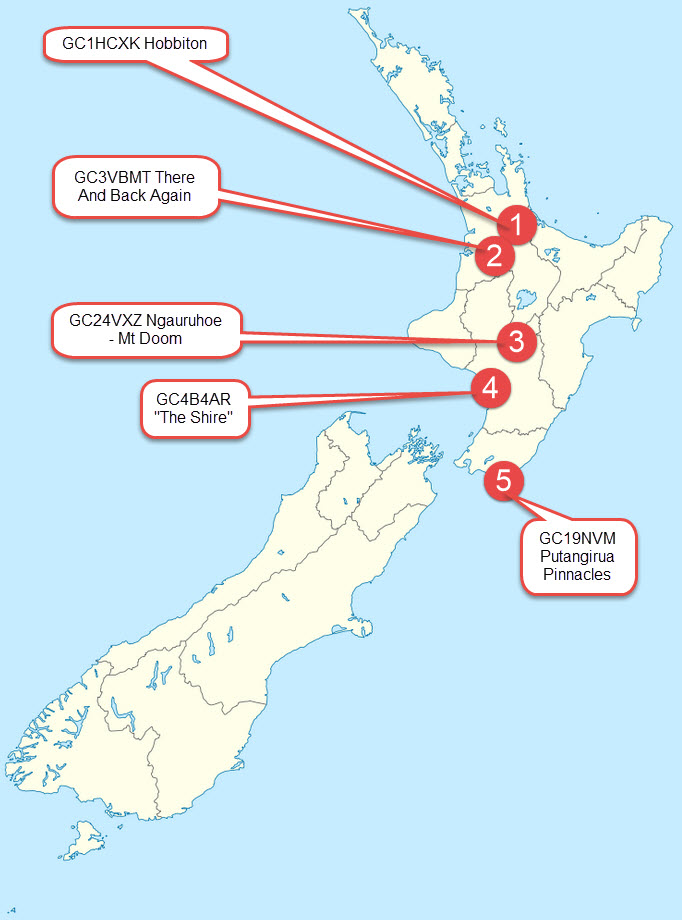 Focusing on New Zealand's North Island, there are a few of the Lord of the Rings inspired geocaches