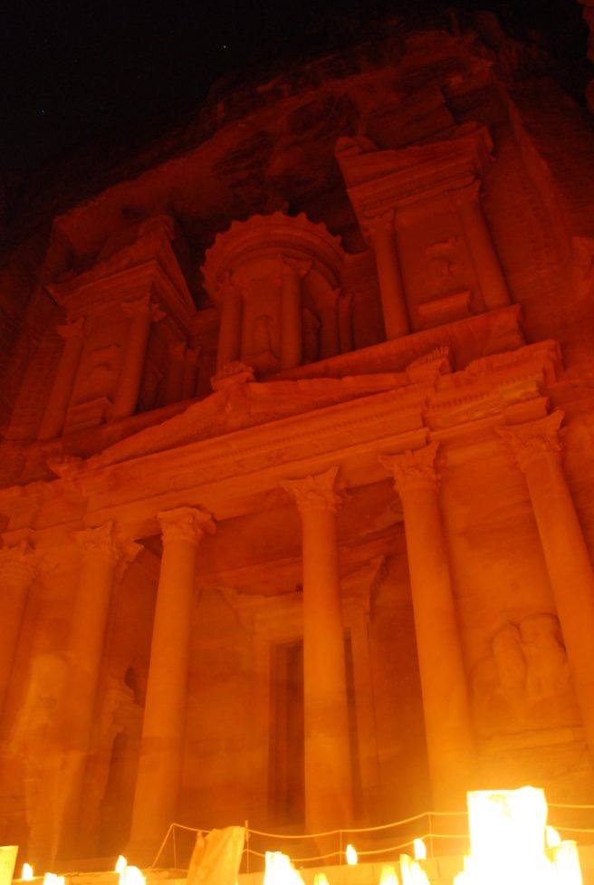 Petra lit by candles at night