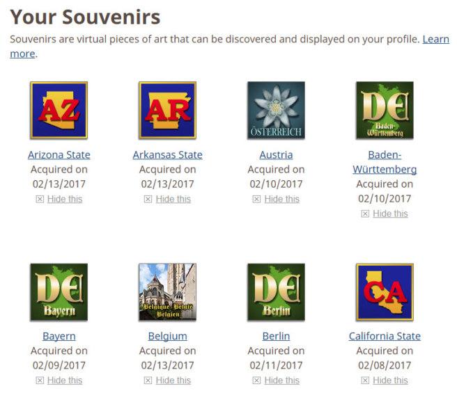 Geocaching souvenirs on a profile