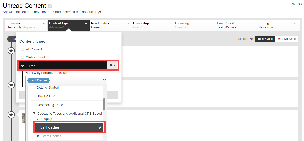 Select subforums from 'Content Types' > 'Topics' and save as new stream