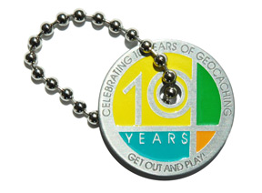 Celebrating 10 Years Geocaching Tag