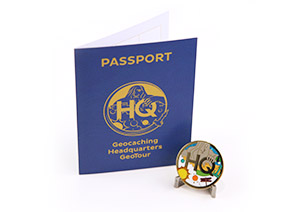 Geocaching HQ GeoTour Passport and Geocoin Front